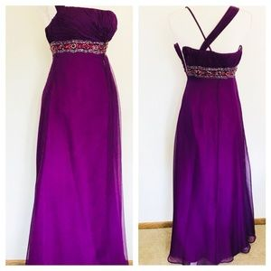 Dresses & Skirts - Jean De Leys Purple Sequin Waist Size 4 Gown